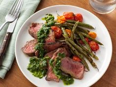 Grilled Steak with Green Beans, Tomatoes and Chimichurri Sauce