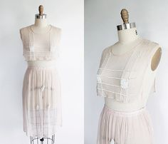 Vaux Vintage | 1920s Pale Silk Chiffon Beaded Skirt and Bib