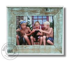 11 x 14 white washed weathered reclaimed cypress wood with plexiglass in front. Hangs in both directions. Not made from dingy pallet wood. Made in the USA. Visit www.BeachFrames.com