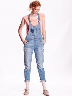 Women's Skinny Denim Overalls Product Image