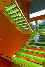 Colorful Staircase At Futuristic Orange House In Ankara, Turkey By Yazgan Design Architecture home trends design photos, home design picture at Home Design and Home Interior Objet Deco Design, Escalier Design, Glass Stairs, Floating Stairs, Stair Lighting, Lighting Ideas, Interior Lighting, Stairway To Heaven, Staircase Design