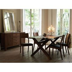 Beautiful walnut sideboard & dining room arrangement.