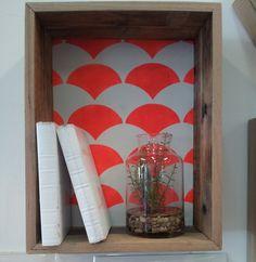 Timber box shelf with custom wallpaper Home Design Decor, Home Decor, Box Shelves, Orange And Turquoise, Tiny House Design, Custom Wallpaper, Interior Accessories, Shadow Box, Diy Art