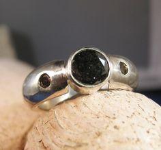 Men's Black Diamond and Brown diamond Silver Ring by phbeads, $170.00