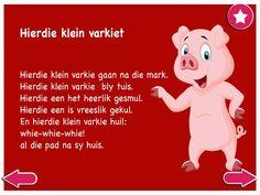Hierdie klein varkie - Kinderrympies in Afrikaans Afrikaans, Child Development, School Projects, Book Lovers, Mobile App, Singing, Language, Classroom, Teacher