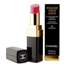 Chanel Rouge Coco Shine Hydrating Sheer Lipshine 55 Romance | More here: http://mylusciouslife.com/shopping-where-to-buy-new-and-genuine-vintage-chanel-items-online/