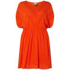 Dorothy Perkins **Vero Moda Orange Crinkle Sundress ($44) ❤ liked on Polyvore featuring dresses, orange, orange sun dress, orange sundress, red dress, sun dresses and dorothy perkins dress