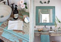 Dois Banheiros Simples, Rústicos E Coloridos!por Depósito Santa Mariah