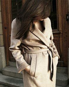 Camel or beige belted coat
