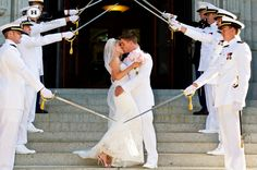 Just #married - now to make it through the infamous sword arch at the #Annapolis #NavalAcademy!  Photography by #HamiltonPhoto
