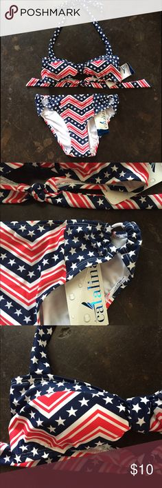Stars and Stripes Flag Bikini Cute Stars and Stripes Flag Bikini. Size S. Bottoms have white plastic ring at hips for detail and halter top gathers in the middle. Also includes additional top. The colors aren't quite the same but will work together. FMS/062616 Catalina Swim Bikinis
