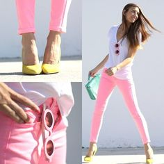 A fashion look from April 2013 featuring v neck t shirts, pink jeans and yellow shoes. Browse and shop related looks. Neon Pink Jeans, Pink Skinny Jeans, Pink Pants, Skinny Pants, Pastel Jeans, Mint Jeans, Pink Trousers, Denim Pants, Jeans Rosa