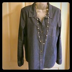 DKNY Jeans Blouse Gently used light weight jean top with roll-out sleeve option. DKNY Tops Blouses