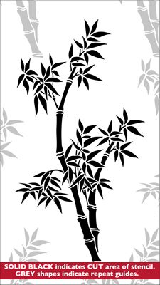 Bamboo stencil from The Stencil Library JAPAN range. Buy stencils online. Stencil code JA51.