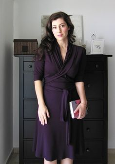 Purple eggplant colored Wrap Dress With Shawl Collar
