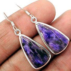 Charoite 925 Sterling Silver Earrings Jewelry CROE97 - JJDesignerJewelry