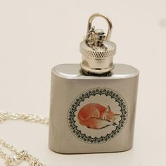 Silver Flask Necklace,Red Fox,Silver Necklace,Cute,Drink Me,Shot Glass. $24.99, via Etsy.