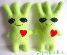 Alien Plush, Handmade Stuffed Animals, Dinosaur Stuffed Animal, Space, Toys, Green, Shop, Blue Prints, Floor Space
