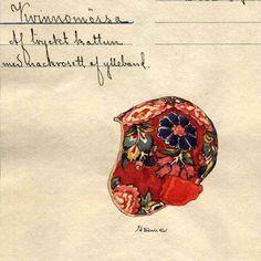 Womans cap from Delsbo parish. Kvinnomössa i tryckt kattun från Delsbo socken Hälsingland. Nordiska Museet, Stockholm, Sweden.