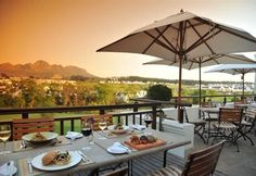 The terrior restaurant on the Kleine Zalze wine estate in Stellenbosch not only serves some of the best food in Cape Town but the scenery is stunning too Cape Town South Africa, Table Mountain, Wine Country, Scenery, Places To Visit, Patio, Outdoor Decor, Adventurer, Tanzania