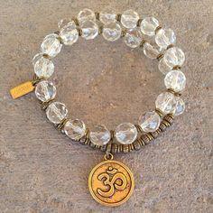 Genuine rock crystal 27 bead wrap mala bracelet with Om charm™ – Lovepray jewelry