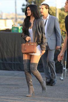 Kylie Jenner wearing Gianvito Rossi Osaka Boots, Hermes Togo Birkin Bag, IRO Frances Dress, Rick Owens Draped Bomber Jacket and IRO Paris Frances Dress