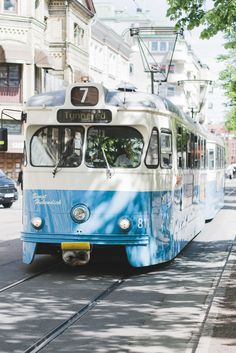 Blue tram in Gothenburg, Sweden - from travel blog: http://Epepa.eu
