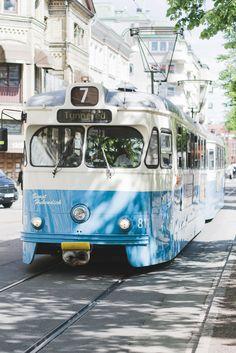 Blue tram in Gothenburg, Sweden - from travel blog: http://Epepa.eu
