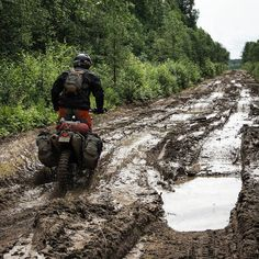 Muddy logging roads in Western Russia 2014.  #motorcycle#adventure #enduro on a…