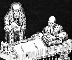 Please, oh please, oh please, God, let me make the resurrection survival roll. (David Sutherland, I believe, from the AD&D Players Handbook, TSR, 1978.)