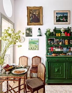 Pedro Espírito Santo's Romantic Home In Lisbon Antique Portuguese chairs are grouped with a bamboo table and a sideboard in the kitchen's breakfast area; the portrait is English. Romantic Home Decor, Romantic Homes, Vintage Home Decor, Vintage Homes, Romantic Cottage, Decoration Bedroom, Room Decor, Wall Decor, Room Inspiration