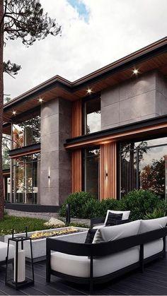 Modern Exterior House Designs, Modern House Facades, Modern Villa Design, Dream House Exterior, Modern Architecture House, Home Interior Design, Architecture Design, Exterior Design, Facade Design