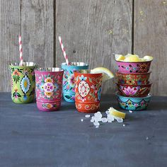 Boho Bowls & Tumblers for a pretty preppy bohemian party or tea or heck any day