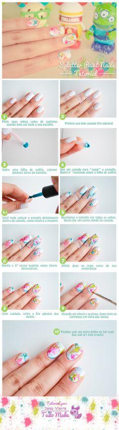 It may be in a different language, but the pics say it all! Splatter Nails, Love Nails, Pretty Nails, Nails Decoradas, Nail Polish Art, Cute Nail Designs, Easy Nail Art, Nail Tutorials, Simple Nails