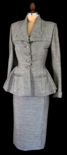 Reserved for VickyTheVintBint -Vintage 1940's 40's Lilli Ann Gray Wool Rhinestone Trimmed Hourglass Wiggle Party Dress Suit with Peplum Jacket
