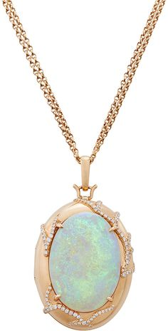 Monica Rich Kosann 18K Rose Gold One-of-a-Kind Locket with a Crystal Opal and Diamonds
