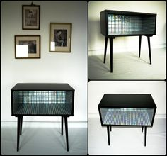 """Pearl"" – retro kisszekrény / mid-century side table Mosaic Designs, Cabinet Design, Cabinets, Mid Century, Pearls, Table, Armoires, Fitted Wardrobes, Beads"