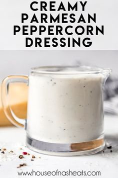This Creamy Parmesan Peppercorn Dressing has a kick from freshly cracked peppercorns that play against the savory parmesan cheese! It's a quick, easy dressing that is wonderful on a green salad or with crunchy, cold vegetables as a dip! Salad Dressing Recipes, Salad Recipes, Salad Dressings, My Favorite Food, Favorite Recipes, Healty Dinner, Dips, Homemade Sauce, How To Make Salad