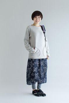 パイルボーダー ボートネックスウェットシャツ/杢灰×生成(もくはい×きなり) - SOU・SOU netshop (ソウソウ) - 『新しい日本文化の創造』