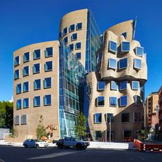 Frank Gehry in Australia. Frank Gehry has completed his first building in Australia – the Dr Chau Chak Wing building at Sydney's University of Technology, set to open in early 2015 Australian Architecture, Futuristic Architecture, Beautiful Architecture, Contemporary Architecture, Art And Architecture, Unusual Buildings, Interesting Buildings, Amazing Buildings, Metal Buildings