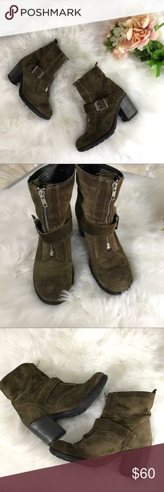 Aldo Suede Buckle Boots Zippered front, buckle accent chunky heeled midi bootie. Great traction. Flexible shaft.  View photos for wear. Aldo Shoes Ankle Boots & Booties