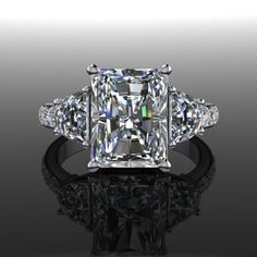 Forever Brilliant Moissanite Three Stone Engagement Ring 4.16 CTW