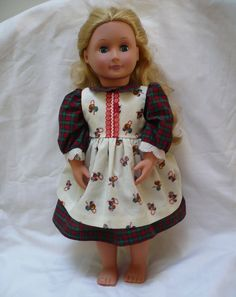 """Pioneer  era doll christmas plaid dress & ivory w ornaments print pinafore for 18"""" doll by ConcealedTreasures on Etsy"""