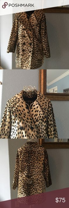 Vintage 60's Leopard Print Pea Coat sz M Beautiful vintage pea coat from the 1960's. Faux fur. Price reduced due to missing button (as pictured). Easily fixable. In great vintage condition besides button. No modeling. Vintage Jackets & Coats Pea Coats