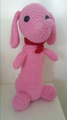 Een roze teckel - combigurumi