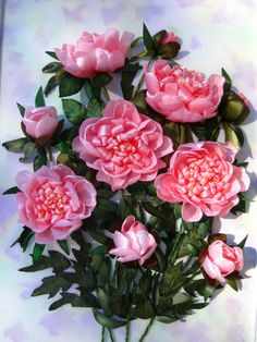 Pink roses #ribbonEmbroidery