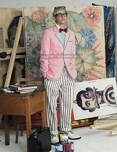 illustrator / prop stylist gary card channeling david hockney, by william selden, styled by nicola formichetti, for another man magazine David Hockney Ipad, Estilo Nerd, Pop Art, Portraits, Male Magazine, Artist Life, Another Man, Well Dressed Men, Pink Stripes