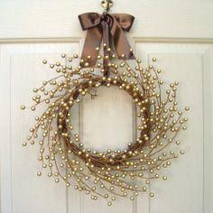 Christmas Gold Berry Wreath, Wedding Decoration, Christimas Wreath, Wedding Wreath, Holiday Wreath, Gold Wreath for Front Door Decor