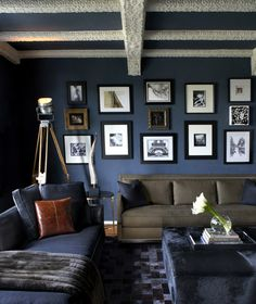 Blue Contemporary Living Room With White Ceiling Beams Dark Walls Living Room, Navy Blue Living Room, Living Room Paint, White Ceiling, Ceiling Beams, Eclectic Living Room, Living Spaces, Living Rooms, Living Area