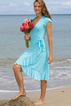 Mele Dress - Form-Fitting Faux-Wrap Dress, Bridesmaid, Stretch-Jersey - Island Importer | 365 day return (excluding custom orders) | Dress available in custom colors | $55